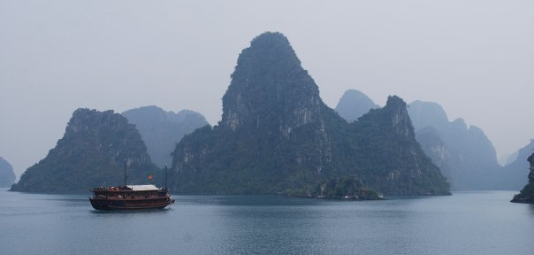 A Vietnamese junk on Halong Bay, Vietnam