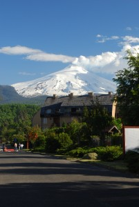 Volcan Villarica above the town of Pucon Chile