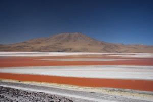 Laguna Colorada in the Eduardo Alvaroa Reserve in Bolivia