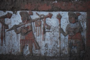 Moche painting at La Huaca de Luna in Trujillo Peru