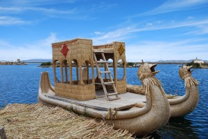 A totora reed yacht in the Uros Islands on Lake Titicaca Peru