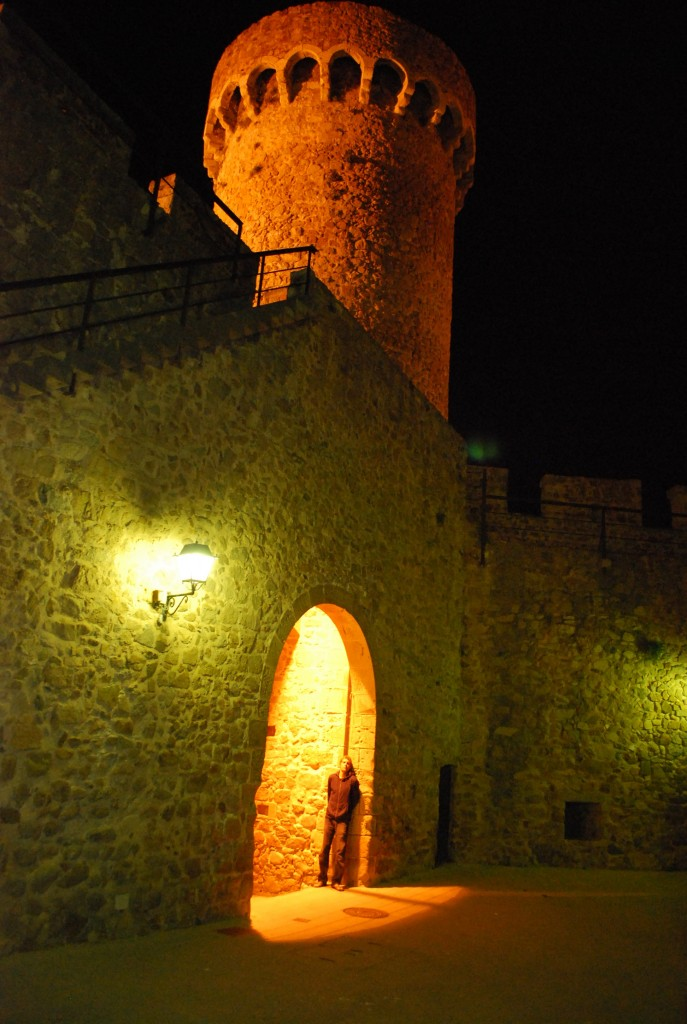 Tossa de Mar fort at night
