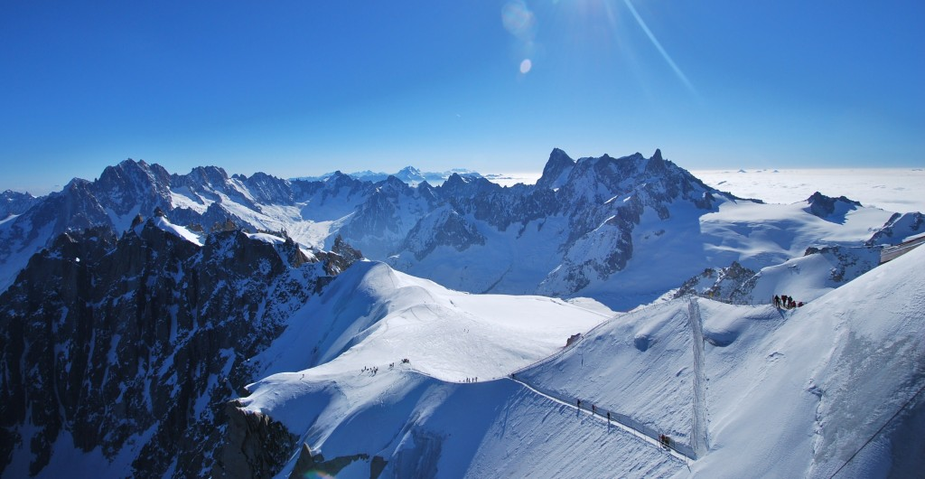 View over the Alps from France's Aiguille du Midi