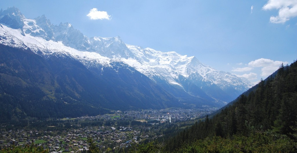 A panorama of France's Chamonix Valley