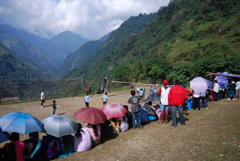 Volleyball game in Annapurna Nepal