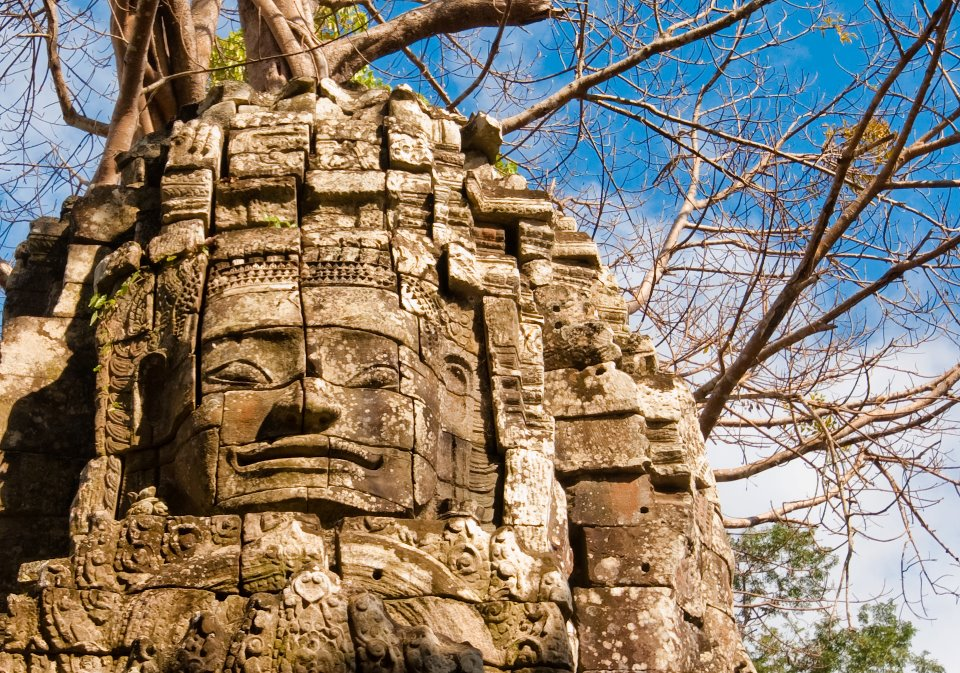 Stone face at the temples of Angkor, Cambodia